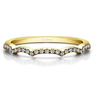 0.135 Carat Scalloped Edge Curved Matching Wedding Band