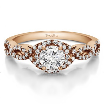 0.81 Ct. Round Halo Engagement Ring with Infinity Shank in Rose Gold