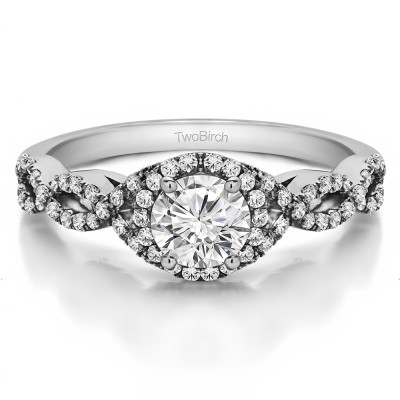 0.81 Ct. Round Halo Engagement Ring with Infinity Shank