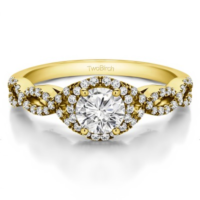 0.81 Ct. Round Halo Engagement Ring with Infinity Shank in Yellow Gold