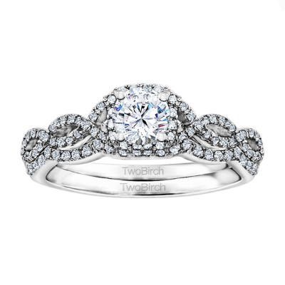 Round Infinity Halo Wedding Ring Bridal Set (2 Rings) (0.95 Ct. Twt.)