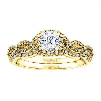 Round Infinity Halo Wedding Ring Bridal Set (2 Rings) (0.95 Ct. Twt.)