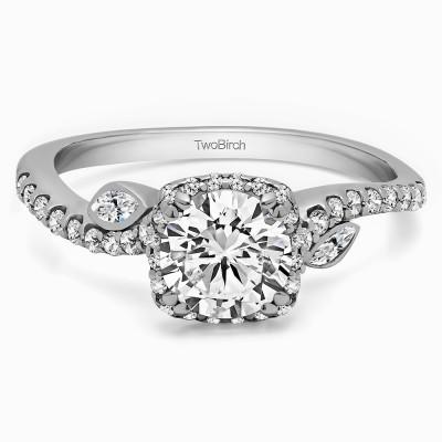 1.36 Ct. Round Halo Leaf Engagement Ring