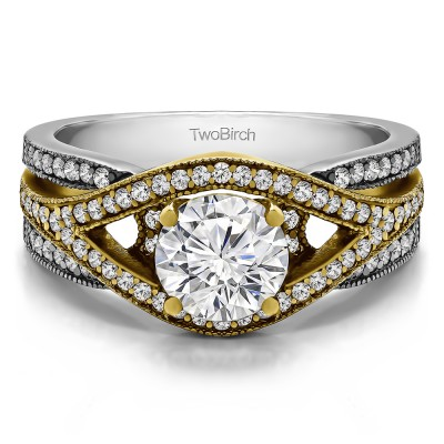 1.42 Ct. Round Fancy Infinity Engagement Ring in Two Tone Gold