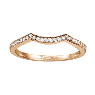 0.13 Carat Matching Wedding Ring For Halo Engagement Ring