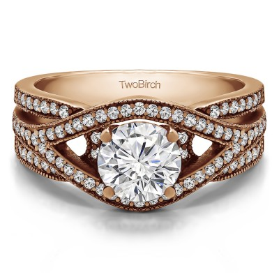 1.42 Ct. Round Fancy Infinity Engagement Ring in Rose Gold