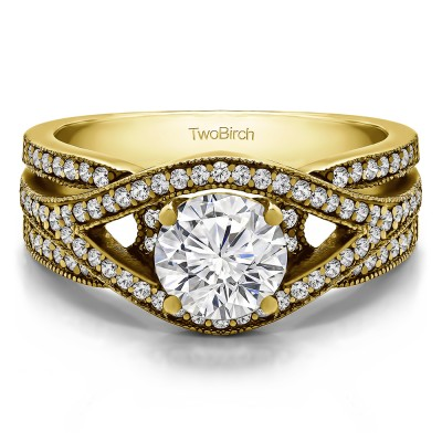 1.42 Ct. Round Fancy Infinity Engagement Ring in Yellow Gold