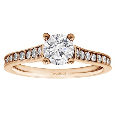 1.39 Ct. Round Prong in Channel Set Engagement Ring in Rose Gold