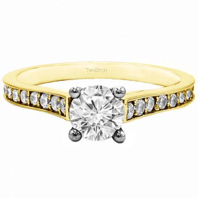1.39 Ct. Round Prong in Channel Set Engagement Ring in Two Tone Gold