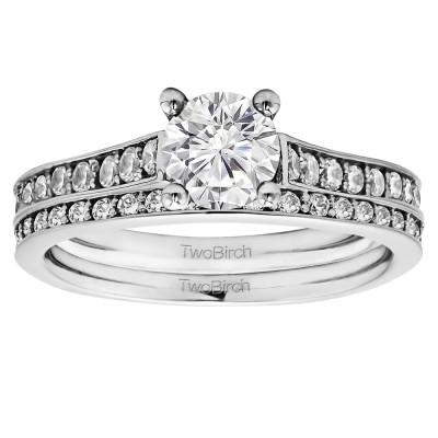 Round Timeless Prong Set Engagement Ring Bridal Set (2 Rings) (1.73 Ct. Twt.)