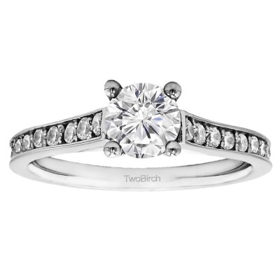 1.39 Ct. Round Prong in Channel Set Engagement Ring