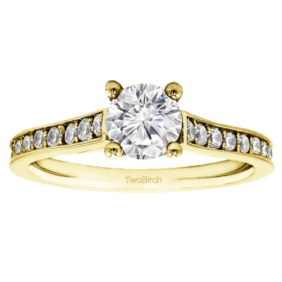 1.39 Ct. Round Prong in Channel Set Engagement Ring in Yellow Gold
