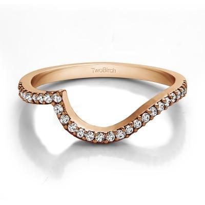 0.14 Carat Matching Wedding Ring For Halo Engagement Ring