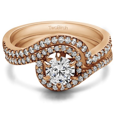 Fancy Bypass Halo Engagement Ring Bridal Set (2 Rings) (0.92 Ct. Twt.)