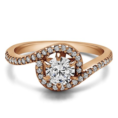 0.78 Ct. Round Bypass Halo Engagement Ring in Rose Gold