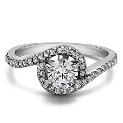 0.78 Ct. Round Bypass Halo Engagement Ring