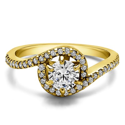 0.78 Ct. Round Bypass Halo Engagement Ring in Yellow Gold