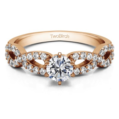 1.04 Ct. Round Engagement Ring with Infinity Shank in Rose Gold