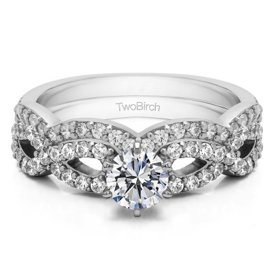 Infinity Engagement Ring Bridal Set (2 Rings) (1.27 Ct. Twt.)