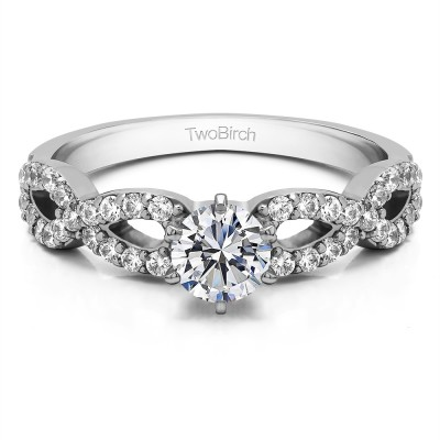 1.04 Ct. Round Engagement Ring with Infinity Shank