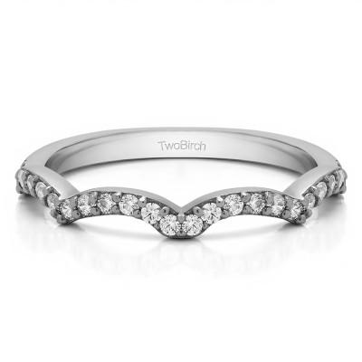 0.225 Carat Scalloped Edge Matching Wedding Ring For Halo Engagement Ring
