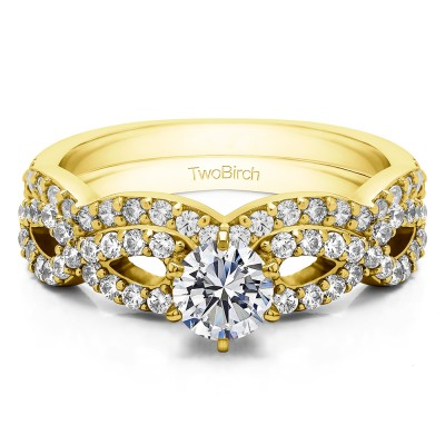 Infinity Halo Engagement Ring Bridal Set (2 Rings) (1.27 Ct. Twt.)