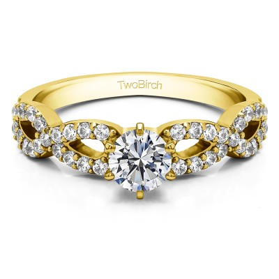 1.04 Ct. Round Engagement Ring with Infinity Shank in Yellow Gold