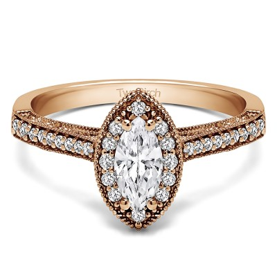 0.82 Ct. Marquise Vintage Halo Engagement Ring in Rose Gold