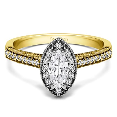 0.82 Ct. Marquise Vintage Halo Engagement Ring in Two Tone Gold