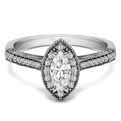 0.82 Ct. Marquise Vintage Halo Engagement Ring