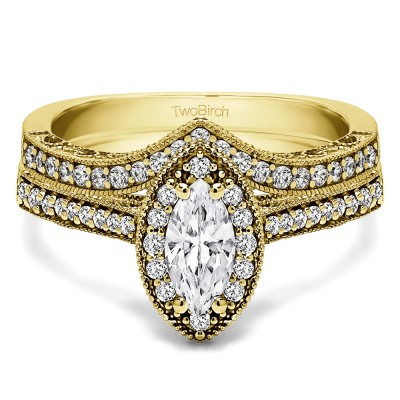 Marquise Vintage Halo Engagement Ring Bridal Set (2 Rings) (1.03 Ct. Twt.)