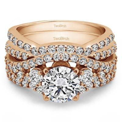 Three Stone Infinity Engagement Ring Bridal Set (2 Rings) (2.95 Ct. Twt.)