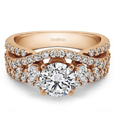 2.65 Ct. Round Three Stone Infinity Engagement Ring in Rose Gold