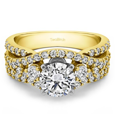 2.65 Ct. Round Three Stone Infinity Engagement Ring in Two Tone Gold
