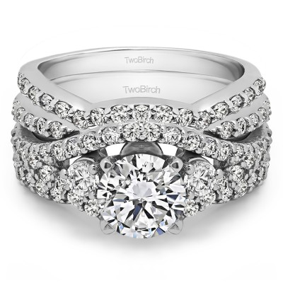 Three Stone Infinity Engagement Ring Bridal Set (2 Rings) (2.95 Ct. Twt.)