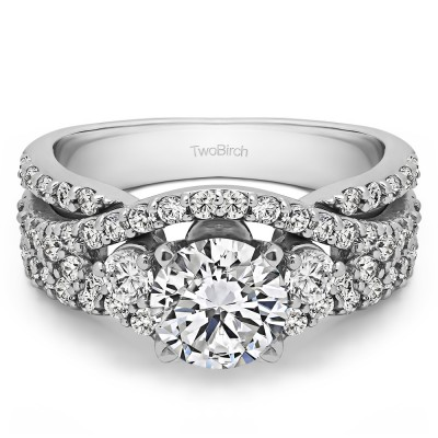 2.65 Ct. Round Three Stone Infinity Engagement Ring