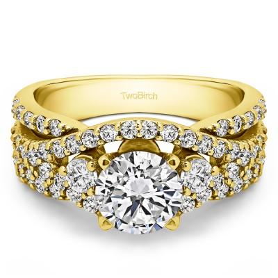 2.65 Ct. Round Three Stone Infinity Engagement Ring in Yellow Gold