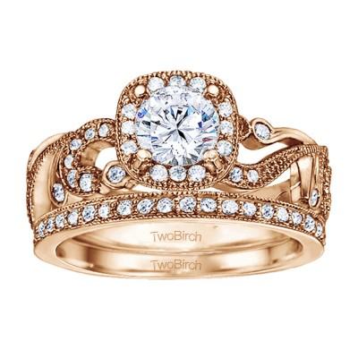 Round Filigree Vintage Engagement Ring Bridal Set (2 Rings) (1.33 Ct. Twt.)