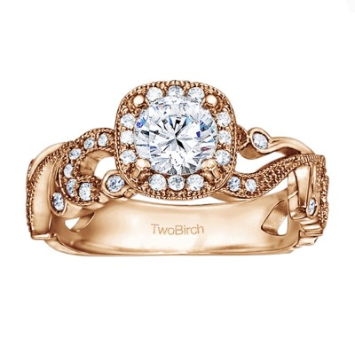 1.14 Ct. Filigree Vintage Engagement Ring with Round Halo in Rose Gold