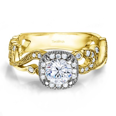 1.14 Ct. Filigree Vintage Engagement Ring with Round Halo in Two Tone Gold