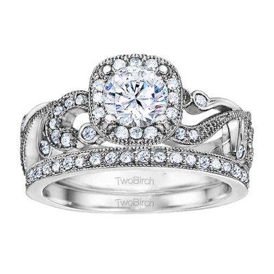 Round Filigree Vintage Engagement Ring Bridal Set (2 Rings) (1.33 Ct. Twt.)