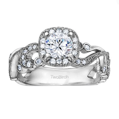 1.14 Ct. Filigree Vintage Engagement Ring with Round Halo