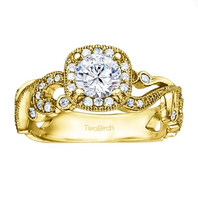 1.14 Ct. Filigree Vintage Engagement Ring with Round Halo in Yellow Gold