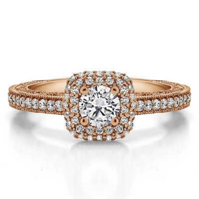 1.01 Ct. Round Vintage Double Halo Engagement Ring with Filigree in Rose Gold