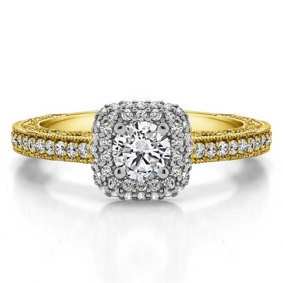 1.01 Ct. Round Vintage Double Halo Engagement Ring with Filigree in Two Tone Gold