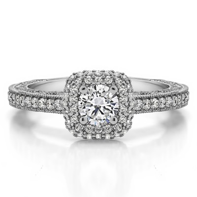 1.01 Ct. Round Vintage Double Halo Engagement Ring with Filigree