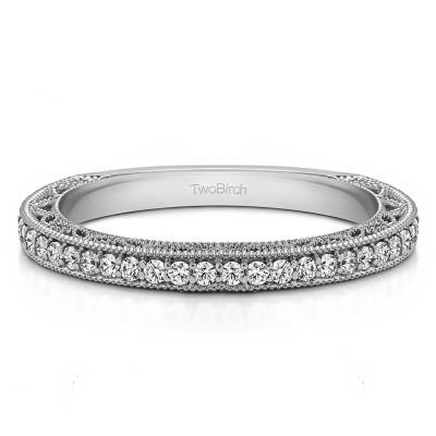 0.33 Carat Low Profile Vintage Filigree Wedding Ring