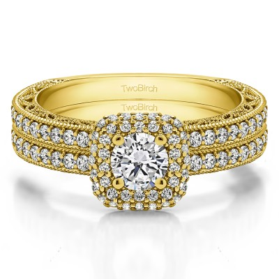 Round Vintage Double Halo Engagement Ring Bridal Set (2 Rings) (1.34 Ct. Twt.)