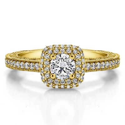1.01 Ct. Round Vintage Double Halo Engagement Ring with Filigree in Yellow Gold