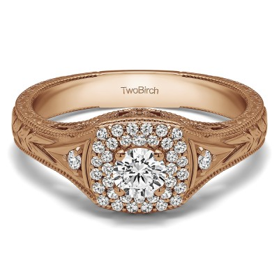 0.48 Ct. Round Three Stone Vintage Double Halo Engagement Ring in Rose Gold